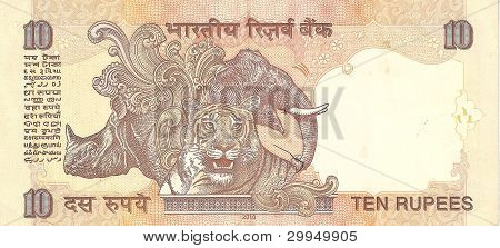 Banknote - Indian rupees 10, the sample in 2010, the flip side.