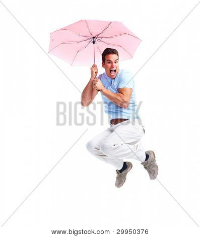 Jumping happy crazy man. Isolated on white background.