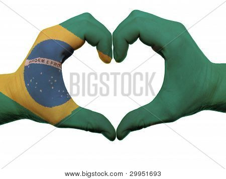 Heart And Love Gesture In Brazil Flag Colors By Hands Isolated On White