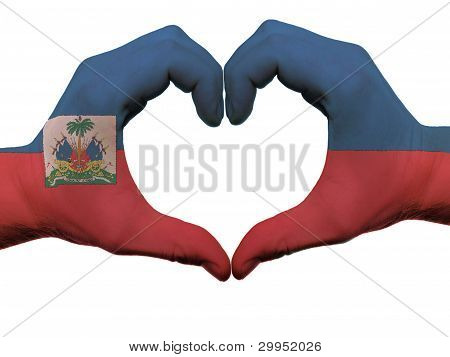 Heart And Love Gesture In Haiti Flag Colors By Hands Isolated On White