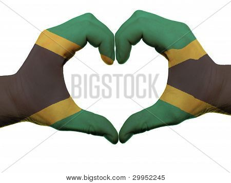 Heart And Love Gesture In Jamaica Flag Colors By Hands Isolated On White