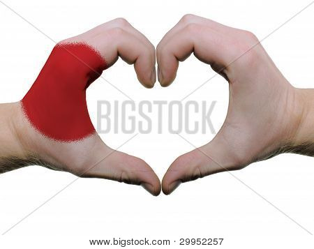 Heart And Love Gesture In Japan Flag Colors By Hands Isolated On White
