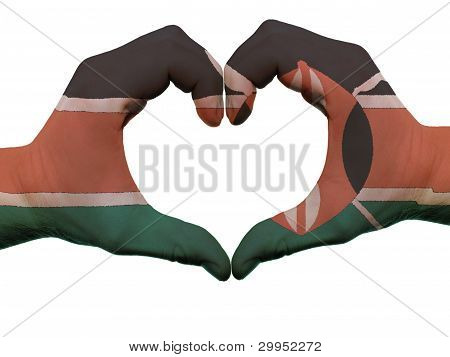 Heart And Love Gesture In Kenya Flag Colors By Hands Isolated On White