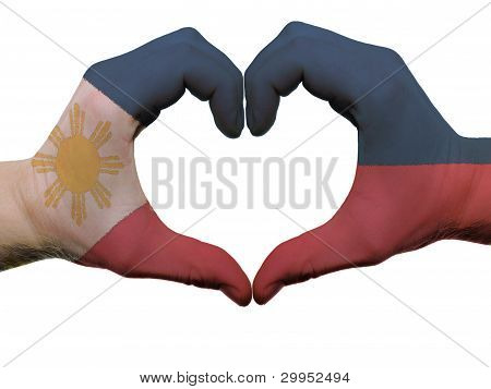 Heart And Love Gesture In Philippines Flag Colors By Hands Isolated On White