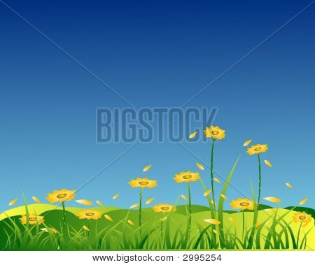 Yellow Flowers Background With Grass And Flying Petal