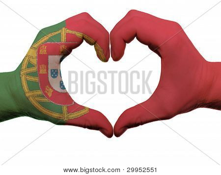 Heart And Love Gesture In Portugal Flag Colors By Hands Isolated On White