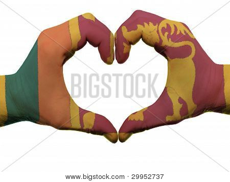 Heart And Love Gesture In Sri Lanka Flag Colors By Hands Isolated On White