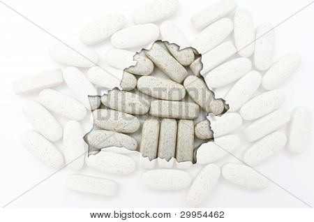 Outline Map Of Belarus With Transparent Pills In The Background For Health And Cure