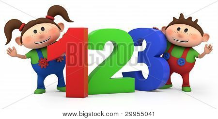 Boy And Girl With 123 Numbers