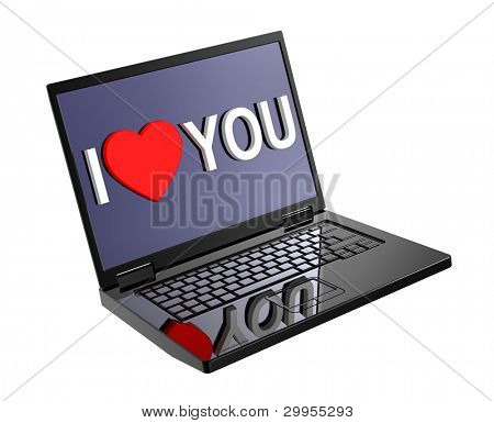 Valentine's day concept - writing I Love You on display of laptop. Computer generated 3D photo rendering.
