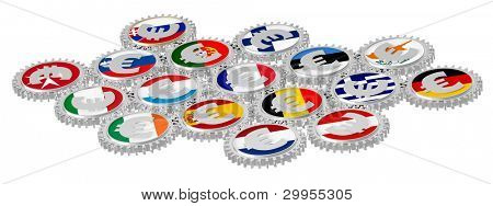 Concept of European Monetary System - Euro gears with national flags isolated over white. Computer generated 3D photo rendering,