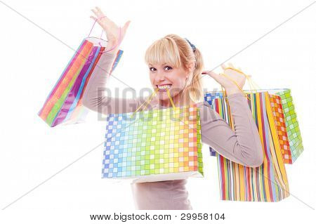 bright photo of happy blonde with shopping bags. isolated on white background
