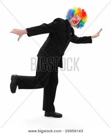 Happy Business Man With Clown Hair