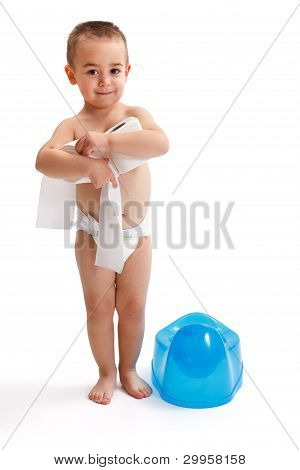 Little Boy Near Blue Potty