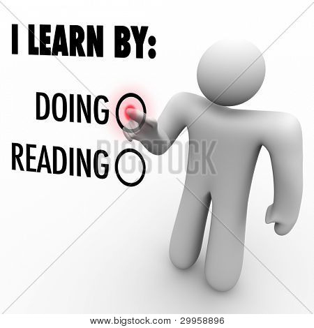 A man presses a button beside the word Doing to indicate his preferred method of learning new skills or knowledge
