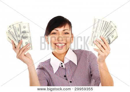 Cheerful young lady showing cash and smiling, isolated on white background