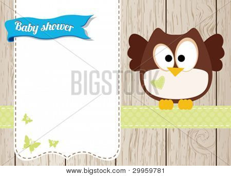 Owl baby boy card
