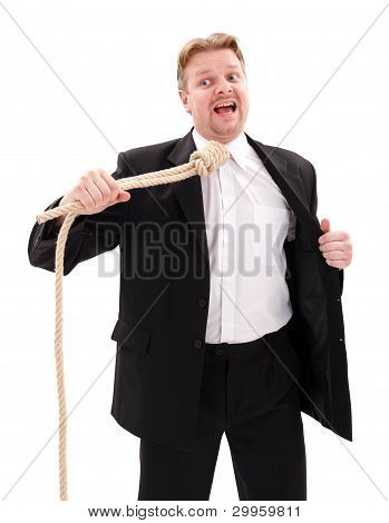 Desperate Businessman With Gallow Rope