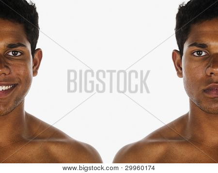 Young man shown in different poses