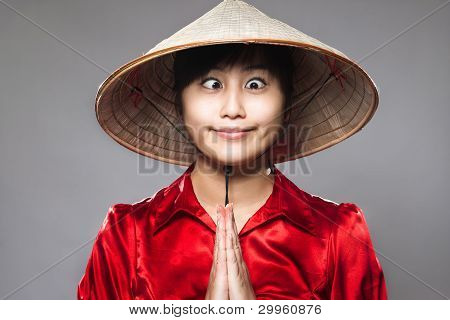 An Asian Girl Being Silly