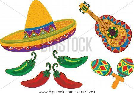 Sombrero, violão, Maracas, pimentas