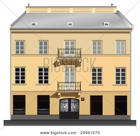 Facade of building from Warsaw. Famous Nowy Swiat street. Color vector illustration on white background.