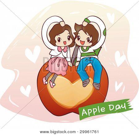 Linda sonriente joven chico y chica encantadora en la manzana roja dulce fondo romántico rosa y blanco