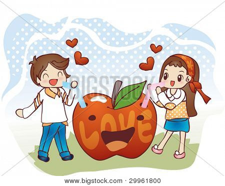 Cute Smiling Young Boy and Lovely Girl with Funny Red Apple on blue background - drinking sweet apple juice with happy little couple