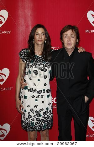 LOS ANGELES, CA - FEB 10: Paul McCartney; Nancy Shevell at the 2012 MusiCares Person of the Year Tribute To Paul McCartney at the LA Convention Center on February 10, 2012 in Los Angeles, California