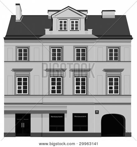 Facade of building from Warsaw. Famous Nowy Swiat street. Black and white illustration.