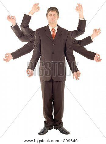 Versatile Spider Businessman isolated on white background