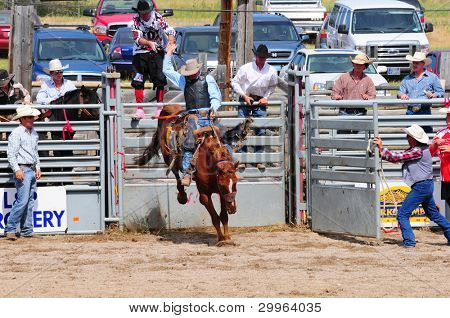 BOULDER - AUGUST 27th: unidentified cowboy rides in the saddle bronc competition at Jefferson County Fair and Rodeo on august 27, 2011 in Boulder, Montana