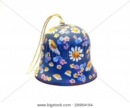 Blue Clay Bell With Flowers By Handmade
