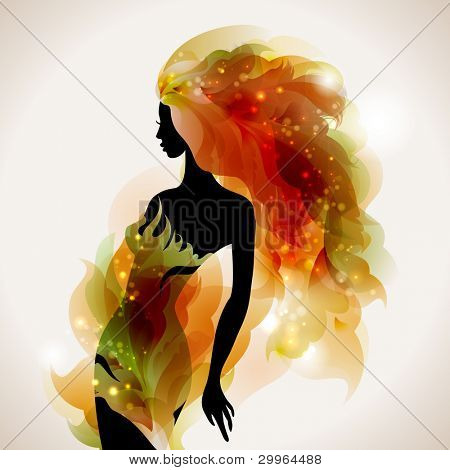abstract  decorative composition with girl