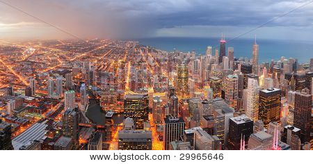 Chicago downtown aerial panorama view at dusk with skyscrapers and city skyline at Michigan lakefront.