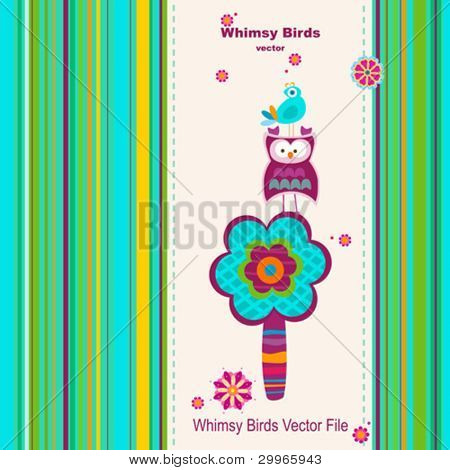 greeting card background whimsy birds