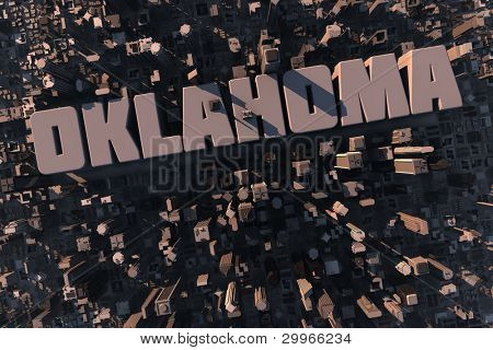 Top view of urban city in 3D with skyscrapers, buildings and name Oklahoma