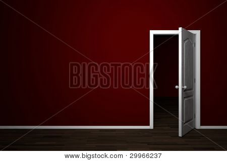Open white door in red room in apartment