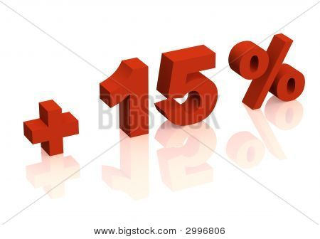 Red 3D Inscription - Plus Of Fifteen Percent