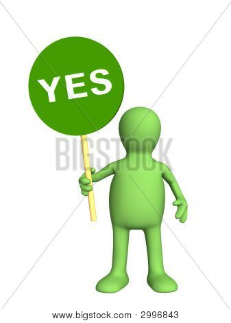 3D Person - Puppet,  Holding In A Hand Sign Yes