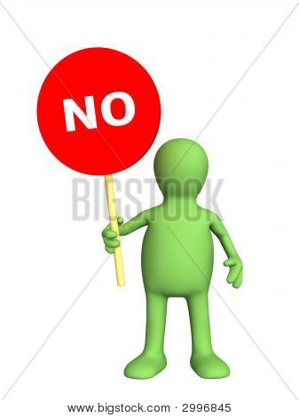 3D Person - Puppet,  Holding In A Hand Sign No