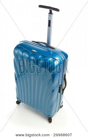 blue modern travel case isolated on white