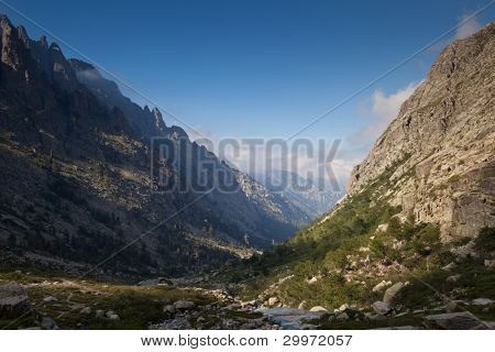 Alpine view of mountain tops in Restonica Valley , Corsica, France