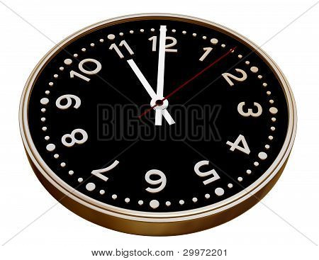 Black And Gold Clock On White