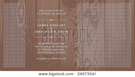 Vector Wooden Background and Ornate Panel Frame. Easy to edit. Perfect for invitations or announcements.