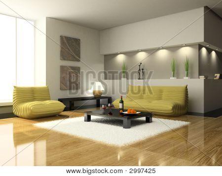 Vista en la sala de estar moderna