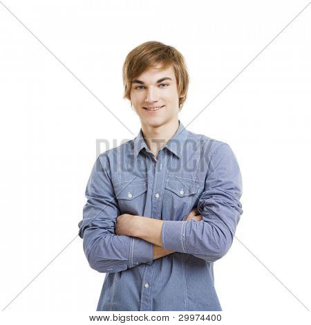 Happy young man with arms folded, isolated over a white background