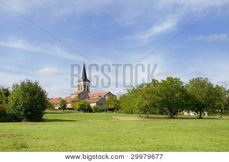 Small French village with church in the Charente