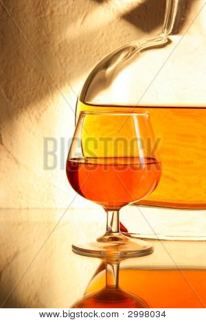 Brandy Sniffer Glass And Bottle