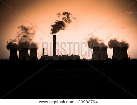 Sunset and smoke from a coal burning power station